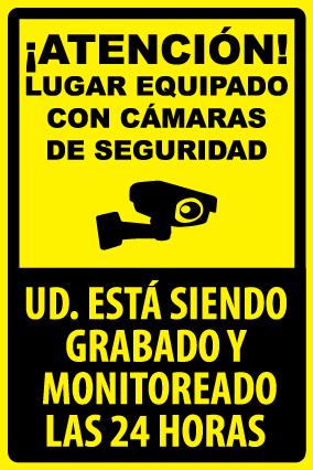 Letrero Lugar Equipado con cámaras de seguridad. UD. está siendo grabado y monitoreado las 24 horas.