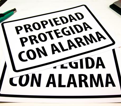 letrero propiedad protegida con alarma 30x40 cm, resistente a la intemperie